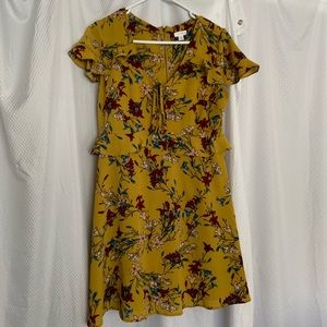 Yellow floral dress with ruffles